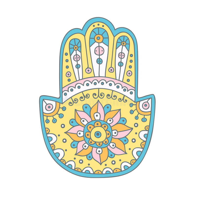 Διανυσματικό hamsa doodle διανυσματική απεικόνιση
