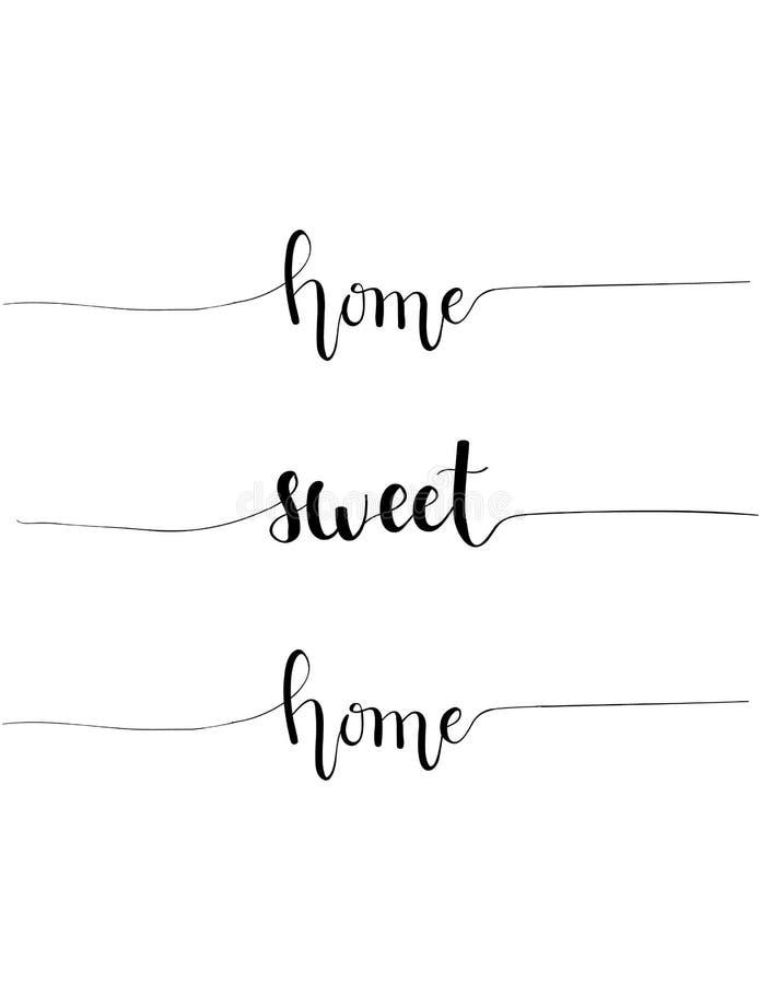 Διανυσματικό hand-drawn σχέδιο καλλιγραφίας παροιμίας εγχώριων γλυκό σπιτιών για την εσωτερική διακόσμηση σπιτιών διανυσματική απεικόνιση