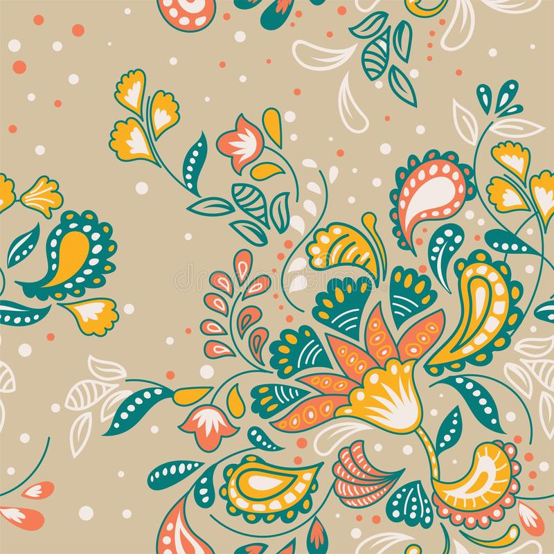 Διανυσματικό Handdrawn floral σχέδιο μπατίκ απεικόνιση αποθεμάτων