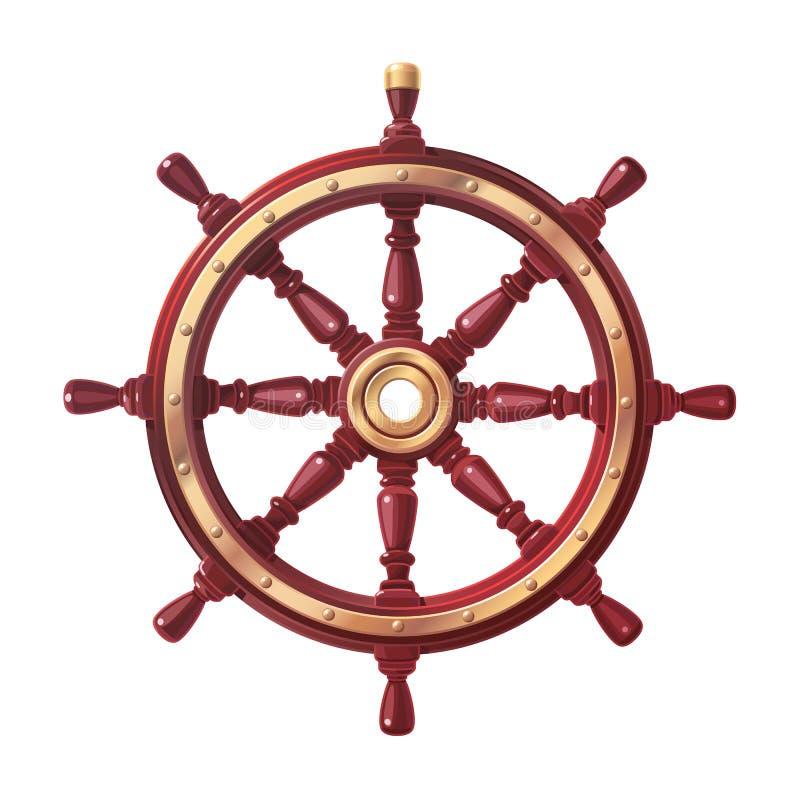 Διανυσματικό handwheel βαρκών, τιμόνι ροδών σκαφών ελεύθερη απεικόνιση δικαιώματος