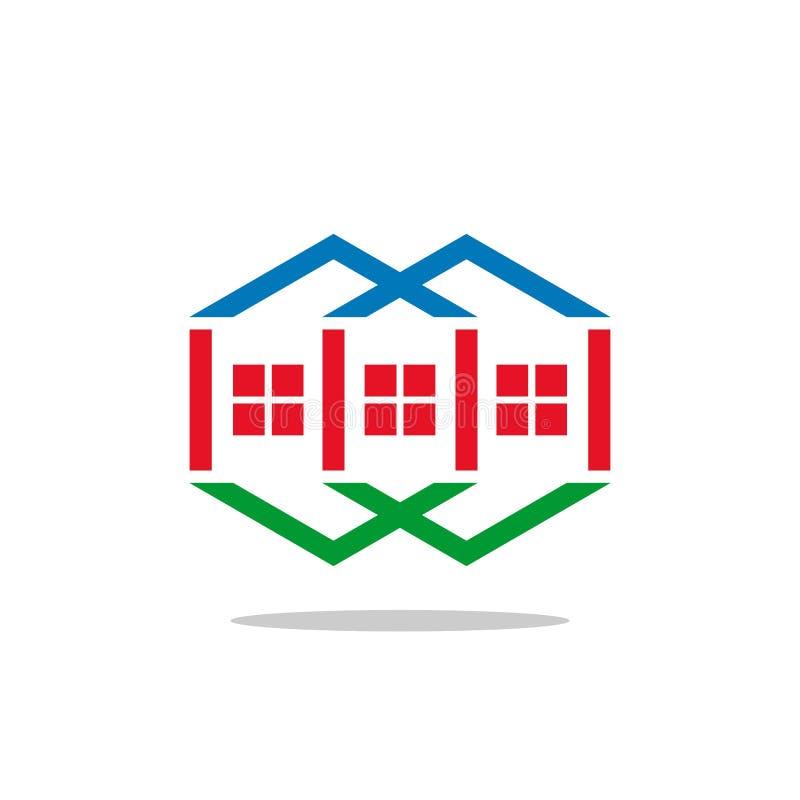 Διανυσματικό, hexagon ζωηρόχρωμο λογότυπο λογότυπων ακίνητων περιουσιών, έννοια γραμμών διανυσματική απεικόνιση