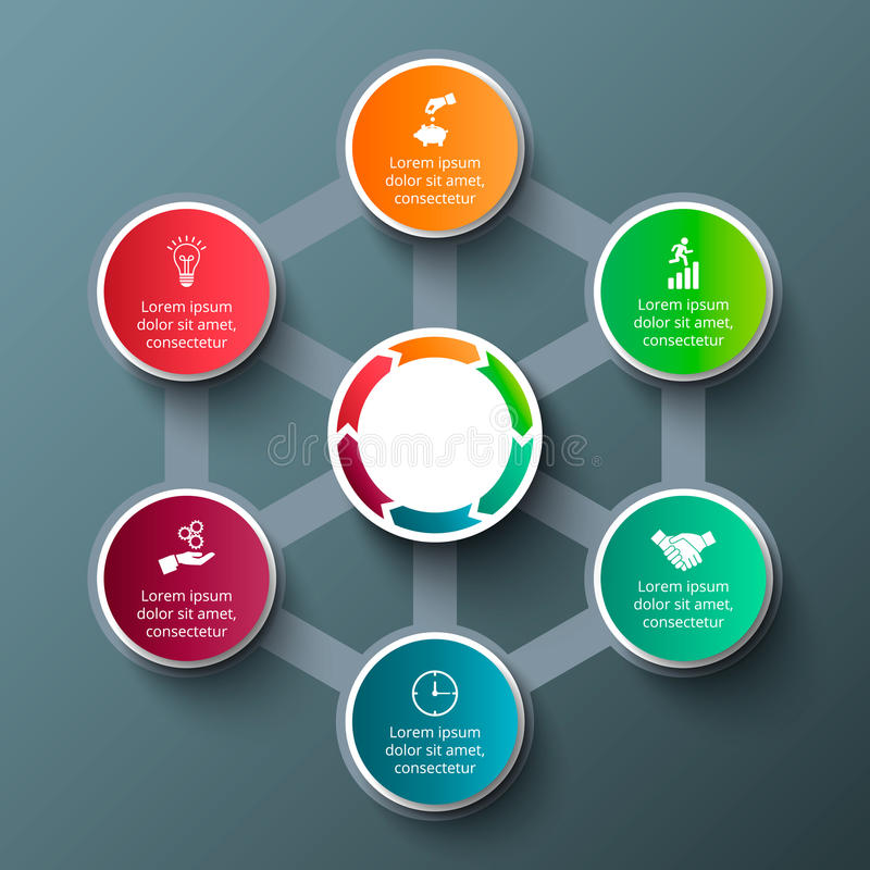 Διανυσματικό hexagon με τους κύκλους για infographic απεικόνιση αποθεμάτων