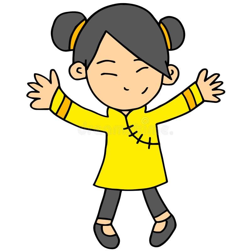 Διανυσματικό illustartion του κινεζικού χαρακτήρα κοριτσιών ελεύθερη απεικόνιση δικαιώματος