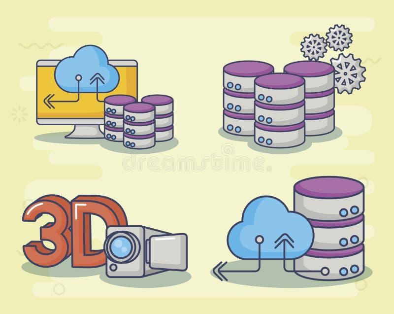 Διανυσματικό ilustration εικονιδίων σχεδίου τεχνολογίας και καινοτομίας διανυσματική απεικόνιση