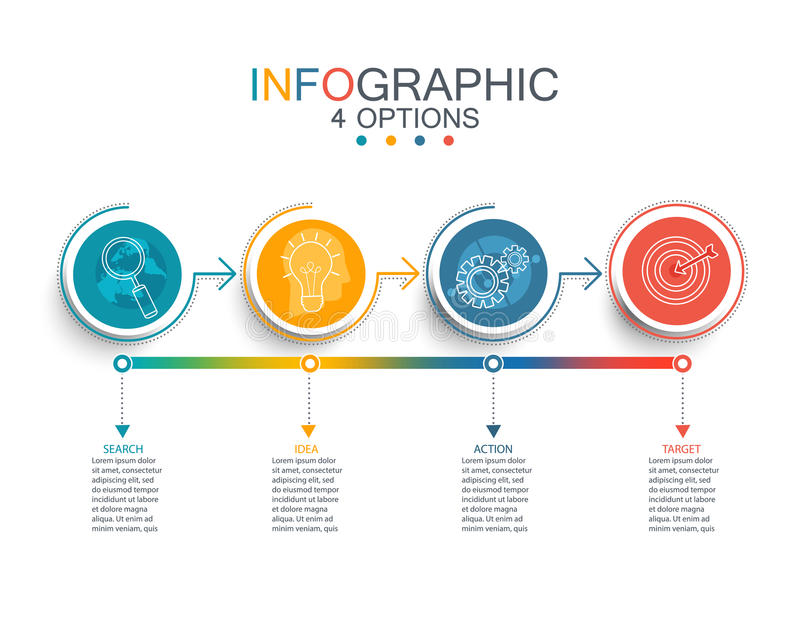 Διανυσματικό infographic πρότυπο γραμμών απεικόνισης με την τρισδιάστατη ετικέτα εγγράφου κύκλων ελεύθερη απεικόνιση δικαιώματος