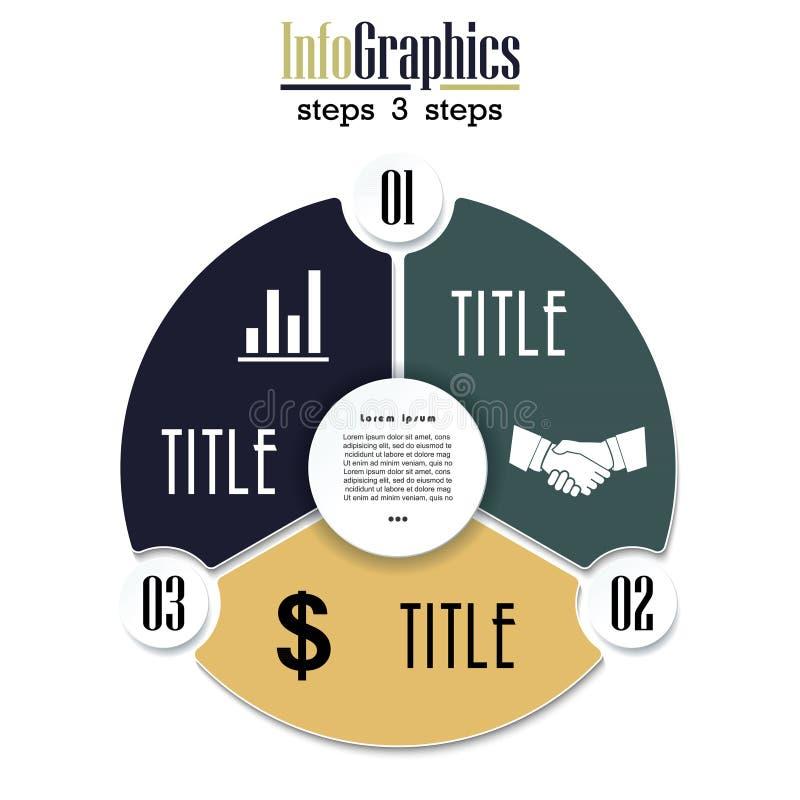 Διανυσματικό infographic πρότυπο διαγραμμάτων κύκλων με 3 επιλογές απεικόνιση αποθεμάτων