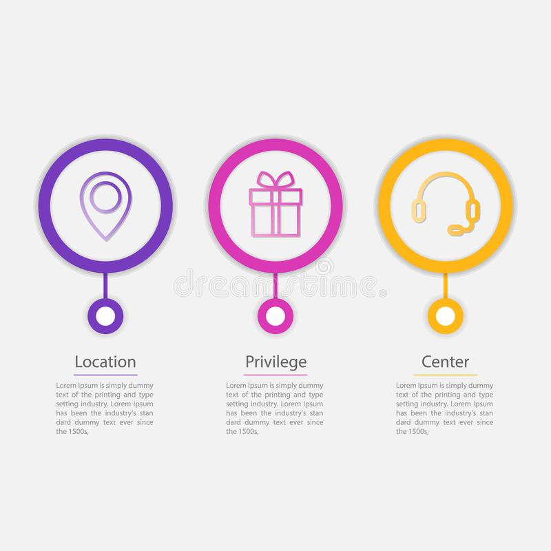 διανυσματικό infographic πρότυπο 3 εικονιδίων για το διάγραμμα, γραφική παράσταση, παρουσίαση, διάγραμμα, επιχειρησιακή έννοια ελεύθερη απεικόνιση δικαιώματος