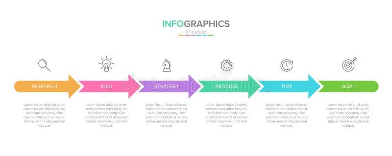 Διανυσματικό infographic πρότυπο ετικετών με τα εικονίδια 6 επιλογές ή βήματα r o διανυσματική απεικόνιση