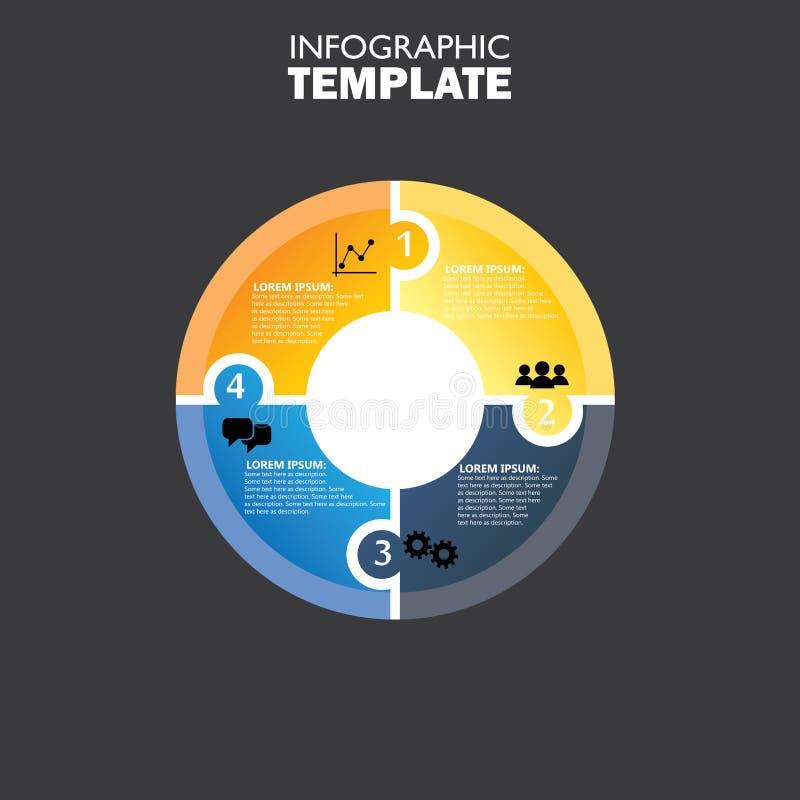 Διανυσματικό infographic πρότυπο κύκλων για το διάγραμμα κύκλων ελεύθερη απεικόνιση δικαιώματος