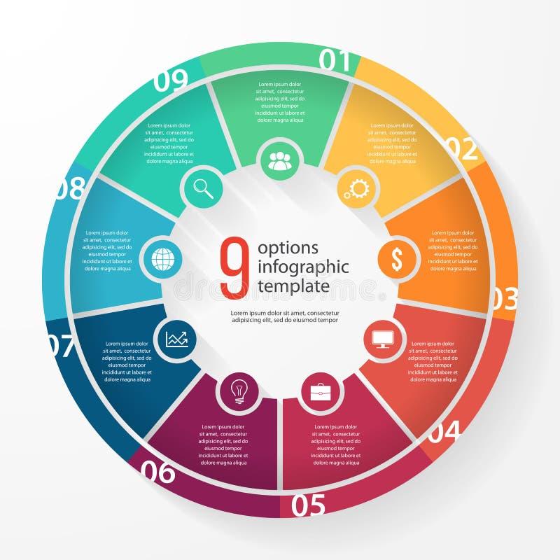 Διανυσματικό infographic πρότυπο κύκλων διαγραμμάτων επιχειρησιακών πιτών απεικόνιση αποθεμάτων