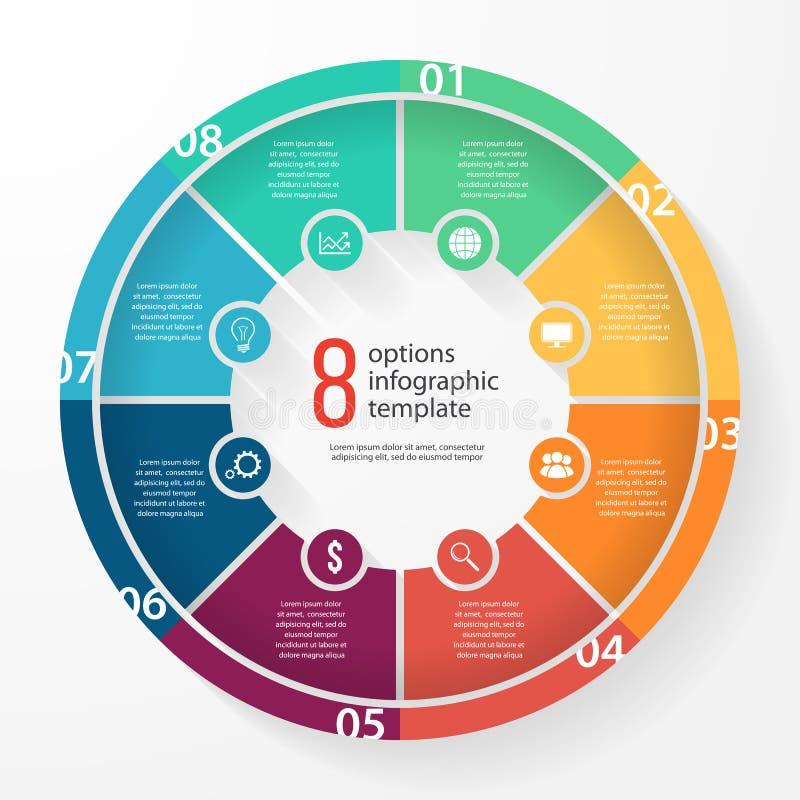 Διανυσματικό infographic πρότυπο κύκλων διαγραμμάτων επιχειρησιακών πιτών διανυσματική απεικόνιση