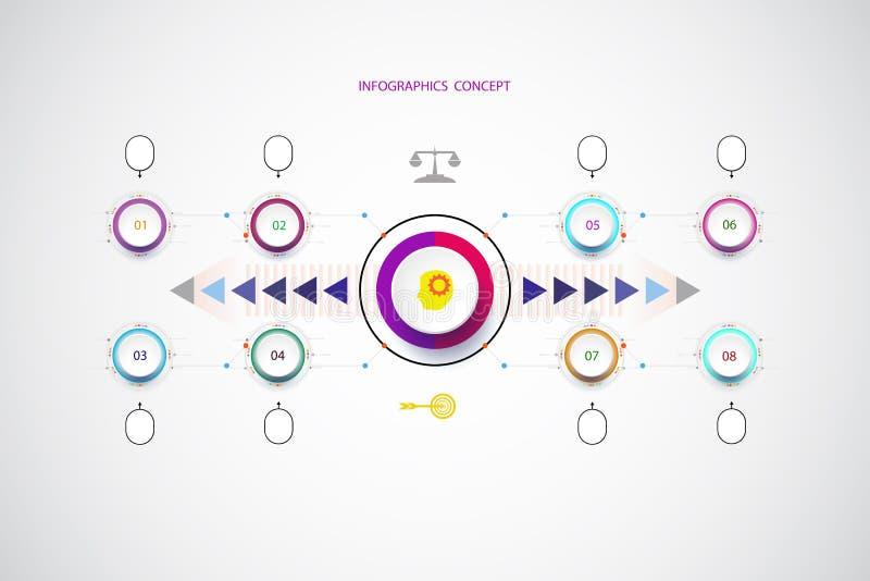 Διανυσματικό infographic πρότυπο με τον αριθμό 8 βήμα ελεύθερη απεικόνιση δικαιώματος