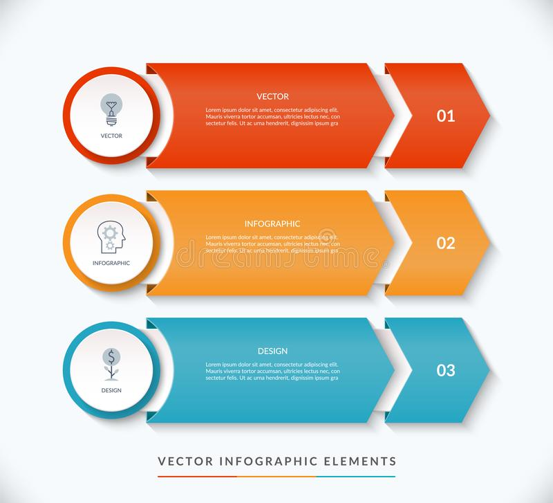 Διανυσματικό infographic πρότυπο σχεδίου με 3 βέλη που δείχνουν δεξιά ελεύθερη απεικόνιση δικαιώματος