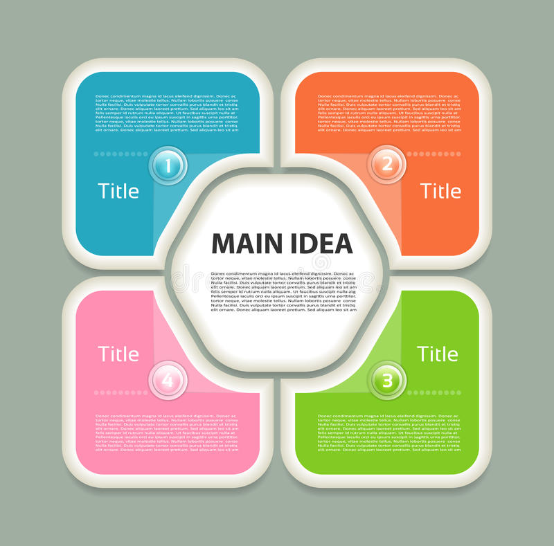 Διανυσματικό infographic πρότυπο σχεδίου Επιχειρησιακή έννοια με τις 4 επιλογές, τα μέρη, βήματα ή διαδικασίες Μπορέστε να χρησιμ ελεύθερη απεικόνιση δικαιώματος
