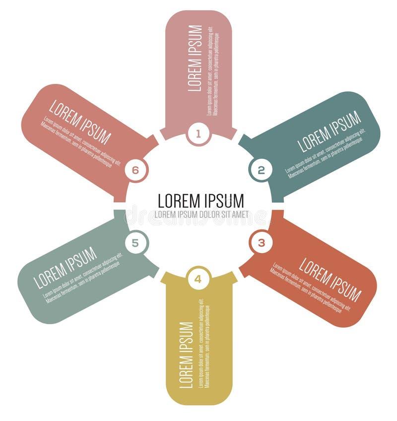 Διανυσματικό infographic πρότυπο σχεδίου με έξι βήματα στον κύκλο διανυσματική απεικόνιση