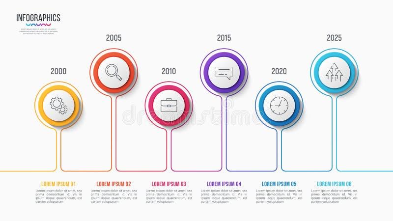 Διανυσματικό infographic σχέδιο 6 βημάτων, διάγραμμα υπόδειξης ως προς το χρόνο απεικόνιση αποθεμάτων