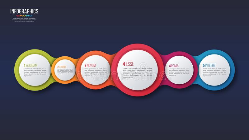 Διανυσματικό infographic σχέδιο 6 επιλογών, πρότυπο παρουσίασης απεικόνιση αποθεμάτων