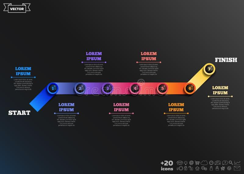 Διανυσματικό infographic σχέδιο με τους ζωηρόχρωμους κύκλους χρυσή ιδιοκτησία βασικών πλήκτρων επιχειρησιακής έννοιας που φθάνει  διανυσματική απεικόνιση