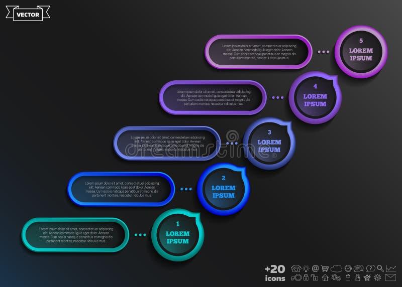 Διανυσματικό infographic σχέδιο με το ζωηρόχρωμο κύκλο χρυσή ιδιοκτησία βασικών πλήκτρων επιχειρησιακής έννοιας που φθάνει στον ο διανυσματική απεικόνιση