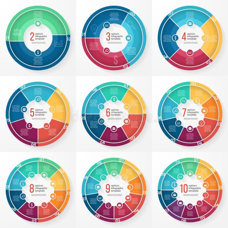 Διανυσματικό infographic σύνολο κύκλων διαγραμμάτων επιχειρησιακών πιτών ελεύθερη απεικόνιση δικαιώματος