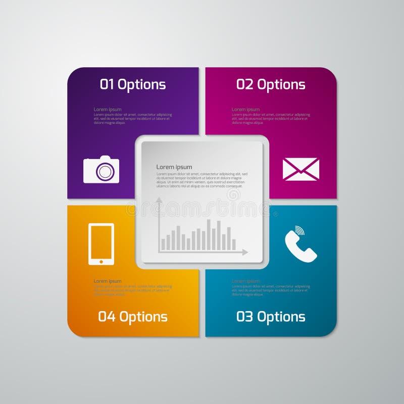 Διανυσματικό infographics απεικόνισης τέσσερις επιλογές Τετραγωνικό πνεύμα εγγράφου απεικόνιση αποθεμάτων