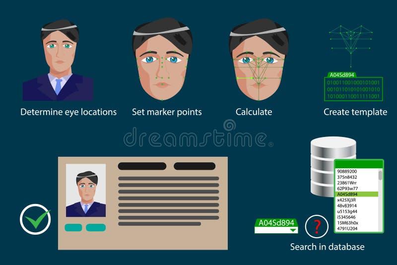 Διανυσματικό infographics - στάδια της του προσώπου διαδικασίας αναγνώρισης απεικόνιση αποθεμάτων