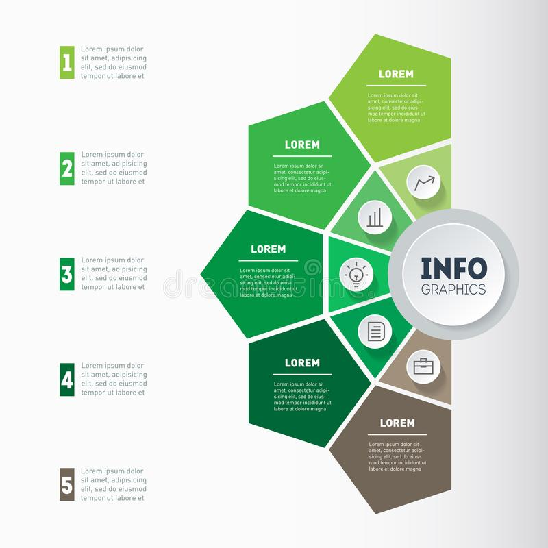 Διανυσματικό infographics eco Πληροφορίες υπόδειξης ως προς το χρόνο γραφικές με τα εικονίδια απεικόνιση αποθεμάτων