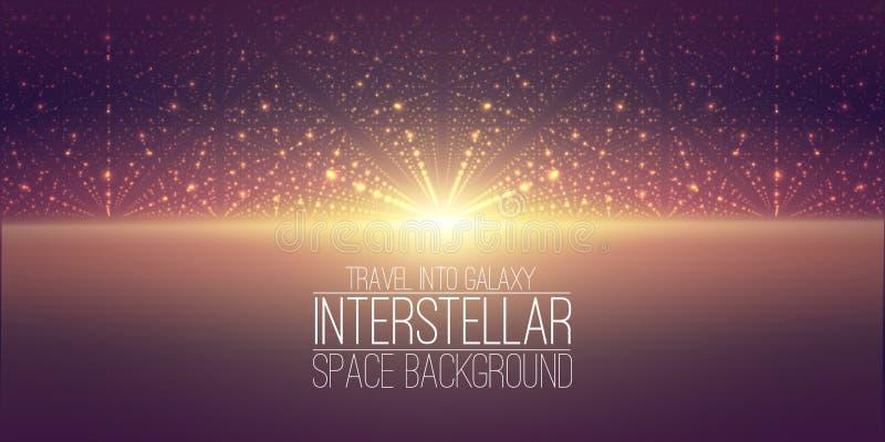 Διανυσματικό interstellar διαστημικό υπόβαθρο Κοσμική απεικόνιση γαλαξιών Υπόβαθρο με το νεφέλωμα, τη αίσθηση μαγείας και φωτεινό απεικόνιση αποθεμάτων