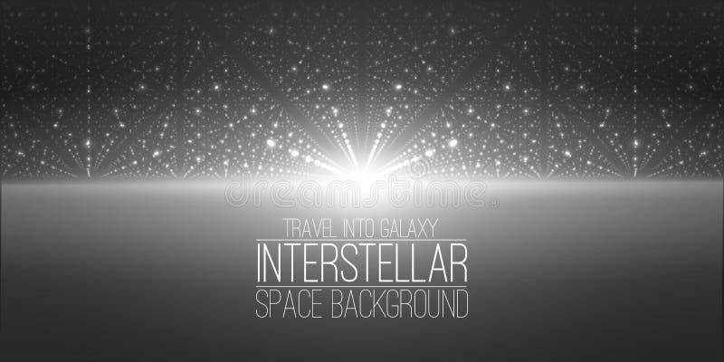Διανυσματικό interstellar διαστημικό υπόβαθρο Κοσμική απεικόνιση γαλαξιών Υπόβαθρο με το νεφέλωμα, τη αίσθηση μαγείας και φωτεινό ελεύθερη απεικόνιση δικαιώματος