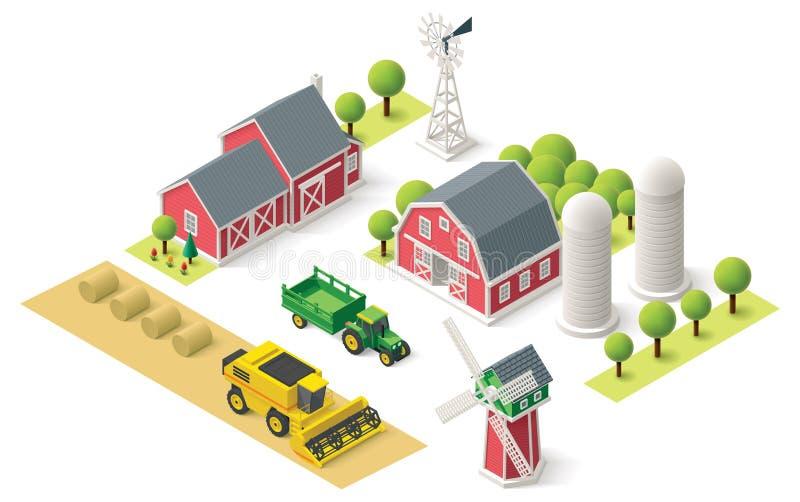 Διανυσματικό isometric αγροτικό σύνολο απεικόνιση αποθεμάτων