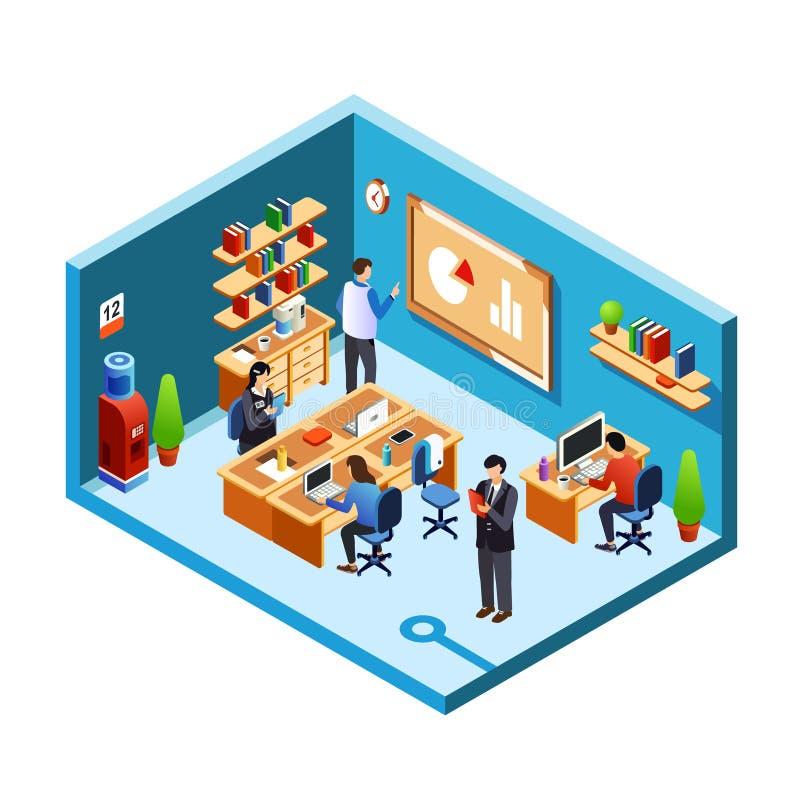 Διανυσματικό isometric δωμάτιο γραφείων, ελεύθερη απεικόνιση δικαιώματος