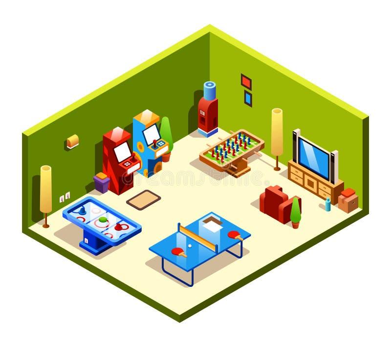 Διανυσματικό isometric δωμάτιο ψυχαγωγίας αναψυχής ελεύθερη απεικόνιση δικαιώματος