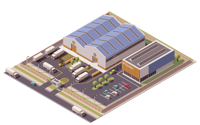 Διανυσματικό isometric εικονίδιο κτηρίων εργοστασίων ελεύθερη απεικόνιση δικαιώματος