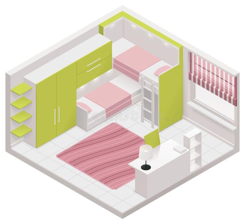 Διανυσματικό isometric εικονίδιο δωματίων παιδιών απεικόνιση αποθεμάτων