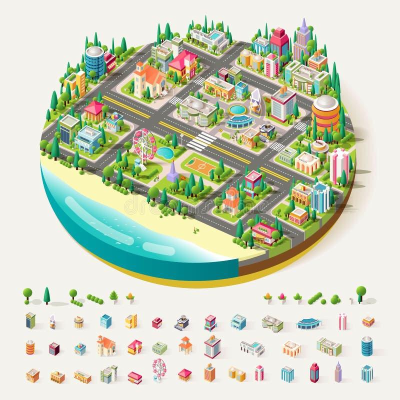Διανυσματικό Isometric εμπορικό κέντρο πόλεων ελεύθερη απεικόνιση δικαιώματος