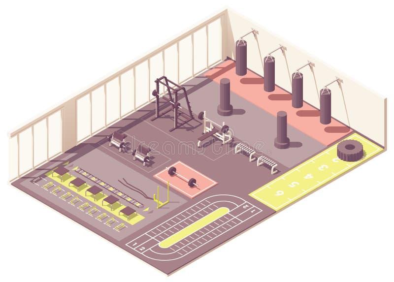 Διανυσματικό isometric εσωτερικό γυμναστικής crossfit διανυσματική απεικόνιση