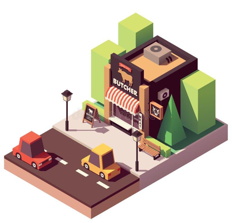 Διανυσματικό isometric κατάστημα χασάπηδων απεικόνιση αποθεμάτων
