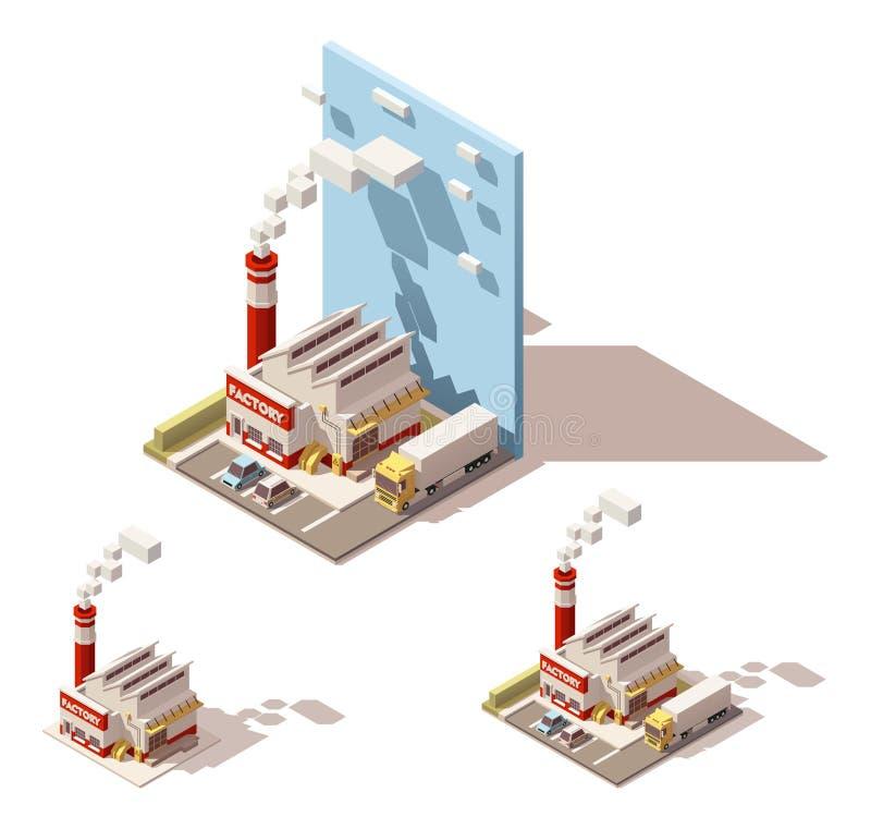 Διανυσματικό isometric κτήριο εργοστασίων με το καπνίζοντας εικονίδιο σωλήνων απεικόνιση αποθεμάτων