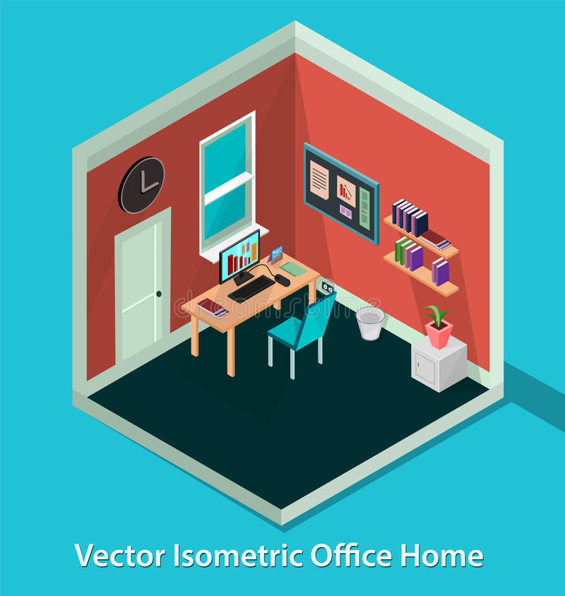 Διανυσματικό isometric σπίτι γραφείων τρισδιάστατος isometric διανυσματική απεικόνιση