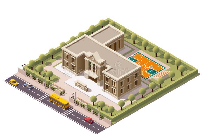 Διανυσματικό isometric σχολείο ελεύθερη απεικόνιση δικαιώματος