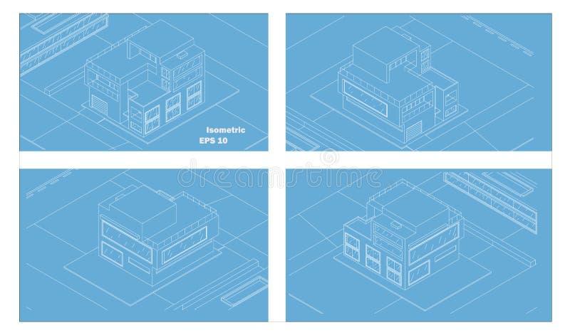 Διανυσματικό isometric σύγχρονο σπίτι wens τέσσερις πλευρές στοκ εικόνες