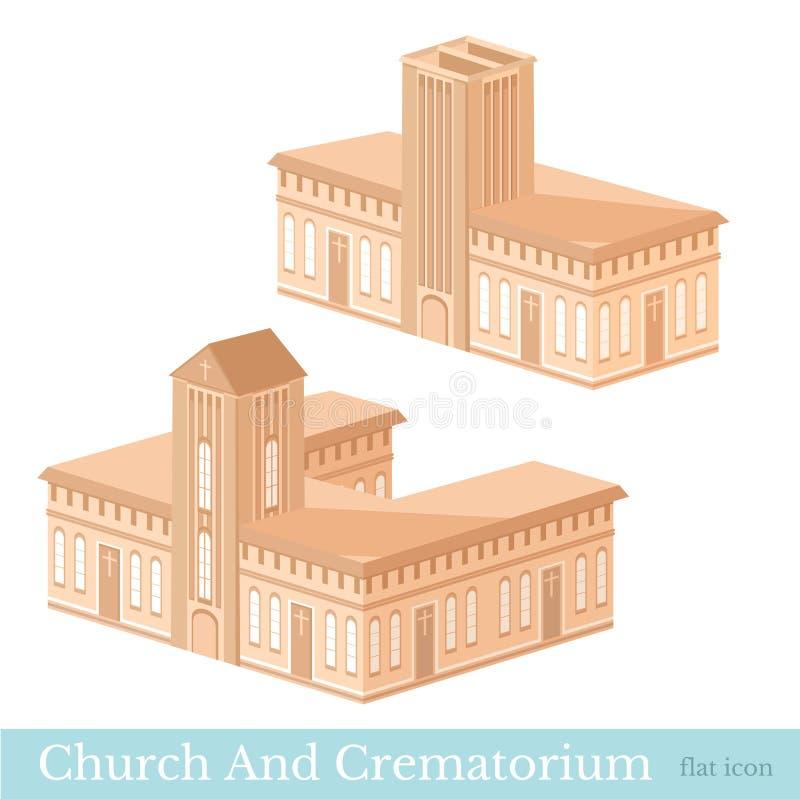 Διανυσματικό isometric σύνολο εικονιδίων ή infographic στοιχεία που αντιπροσωπεύει τα κτήρια του κρεματορίου και της εκκλησίας σε ελεύθερη απεικόνιση δικαιώματος