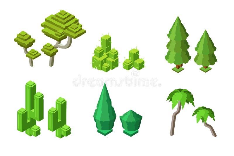 Διανυσματικό isometric σύνολο θάμνων κάκτων εγκαταστάσεων δέντρων ελεύθερη απεικόνιση δικαιώματος