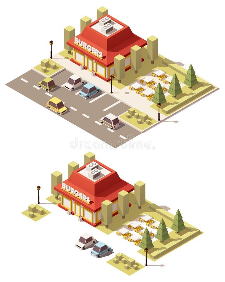 Διανυσματικό isometric χαμηλό πολυ εστιατόριο γρήγορου φαγητού διανυσματική απεικόνιση