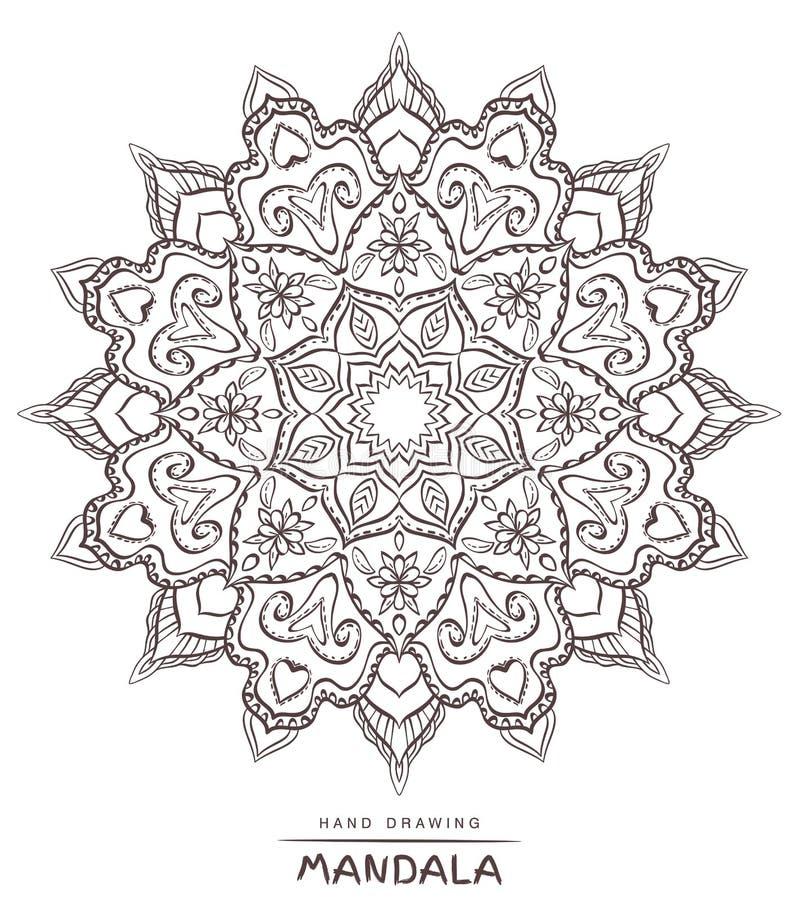Διανυσματικό mandala για το χρωματισμό με τα εθνικά διακοσμητικά στοιχεία διανυσματική απεικόνιση