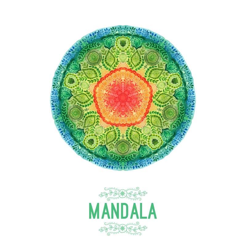 Διανυσματικό mandala watercolor Ντεκόρ για το σχέδιό σας, διακόσμηση δαντελλών Στρογγυλό σχέδιο, ασιατικό ύφος διανυσματική απεικόνιση