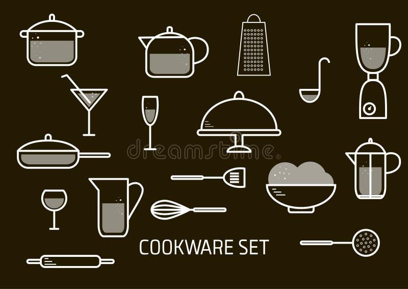 Διανυσματικό minimalistic σύνολο cookware ελεύθερη απεικόνιση δικαιώματος