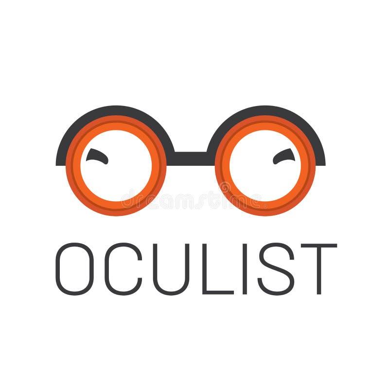 Διανυσματικό optometrist λογότυπων, οπτική και έλεγχος οράματος διανυσματική απεικόνιση