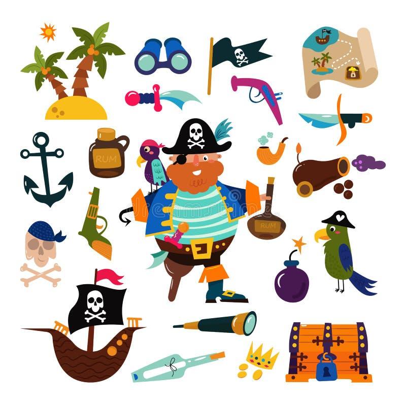 Διανυσματικό piratic άτομο πειρατών χαρακτήρα πειρατών στην πειρατεία του κοστουμιού στο καπέλο με το σύνολο απεικόνισης ξιφών ση απεικόνιση αποθεμάτων