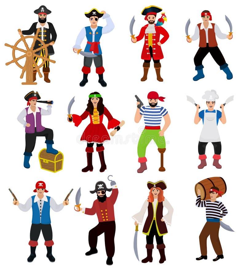 Διανυσματικό piratic άτομο πειρατών χαρακτήρα πειρατών στην πειρατεία του κοστουμιού στο καπέλο με το σύνολο απεικόνισης ξιφών να ελεύθερη απεικόνιση δικαιώματος